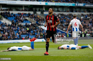Callum Wilson celebrating scoring the fourth and Dunk and Duffy expression summed up the mood of Brighton players and fans. Image courtesy of Charlie Crowhurst on Getty Images.