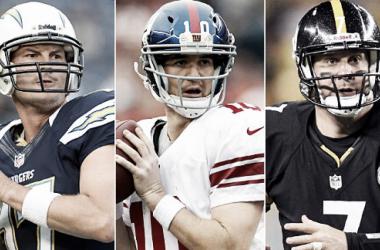 Manning, Roethlisberger y Rivers (foto NFL)