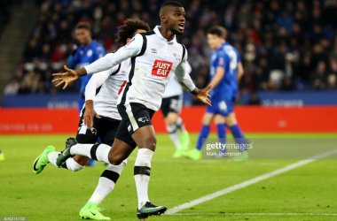 Abdoul Camara of Derby County celebrates after his free-kick was deflected in for his side's first goal during the Emirates FA Cup Fourth Round replay match between Leicester City and Derby City at The King Power Stadium on February 8, 2017 in Leicester, England. (Photo by Mark Thompson/Getty Images)