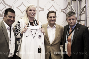 Jane Campbell after being drafted by the Houston Dash (Source: Jenny Chuang/Vavel USA)