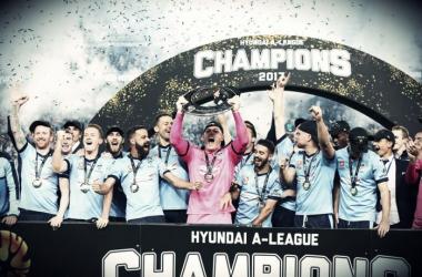 Sydney F celebrando su tercera A League. | Foto: A League.