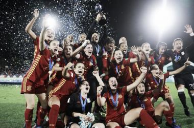 La Selección Española Femenina Sub-17 celebra su primer mundial ganado I Foto: FIFA (GETTY)