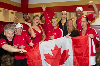 Canada's Fed Cup team celebrating a victory. Photo: Fed Cup