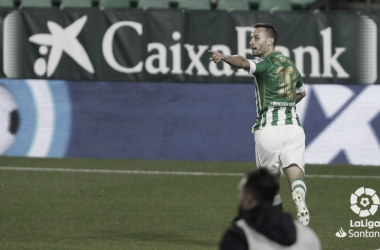 Canales celebra su gol. Fuente: La Liga