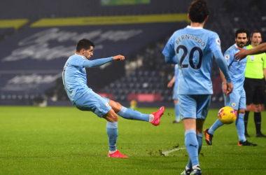 WEST BROMWICH, ENGLAND - JANUARY 26: Joao Cancelo of Manchester City scores their team's second goal during the Premier League match between West Bromwich Albion and Manchester City at The Hawthorns on January 26, 2021 in West Bromwich, England. ( Photo by Manchester City FC/Manchester City FC via Getty Images )