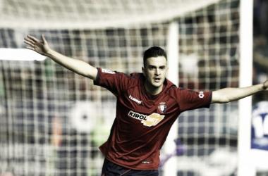 Juan Villar celebrando el gol // Fuente: LaLiga