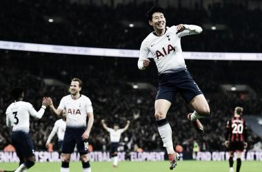 Son marcou dois e ajudou o Tottenham a conquistar os três pontos.(Foto: SpursOfficial)