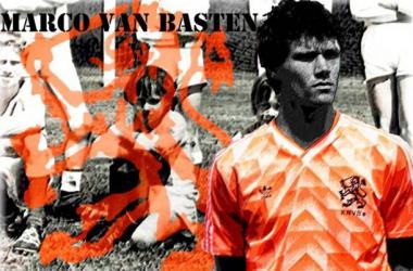 Marco van Basten em dois momentos: quando criança em Utrecht e com a seleção holandesa durante a Eurocopa de 1988 (Arte: Rafael Mateus/VAVEL Brasil)
