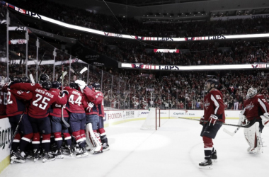The Washington Capitals celebrate the Game 5 winner against the Columbus Blue Jackets. | Photo: Washington Capitals on Twitter