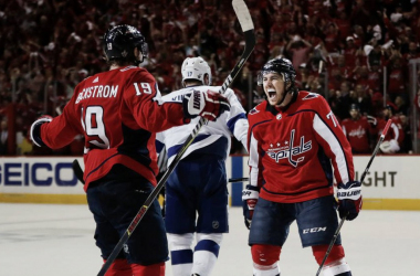 Washington Caps' T.J. Oshie celebrates a goal that helped defeat the Tampa Bay Lighthing. (Pablo Martinez Monsivais/AP Photo)