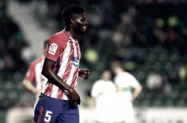 Thomas Partey en un partido con el Atlético de Madrid. Vía: Twitter Thomas Partey