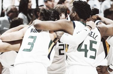 Los Utah Jazz celebran la victoria contra los Oklahoma City Thunder | Foto: @utahjazz