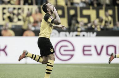 Alcácer, celebrando uno de sus 3 goles. Twitter: @BVB
