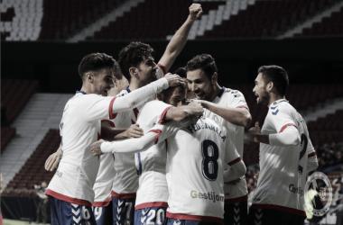 Los jugadores celebrando después de uno de los goles del partido de hoy. Twitter: @RMajadahonda