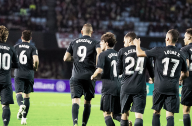 El Real Madrid celebra la victoria en Balaídos. Foto: Liga Santander.