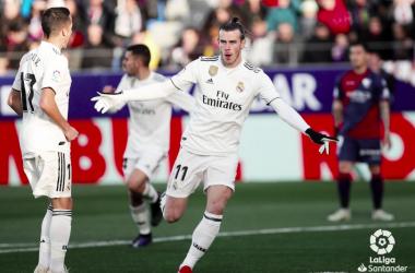 Bale celebra su gol ante el Huesca. Foto: Liga Santander.