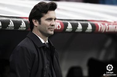 Solari en el banquillo del Real Madrid. Foto: Liga Santander.
