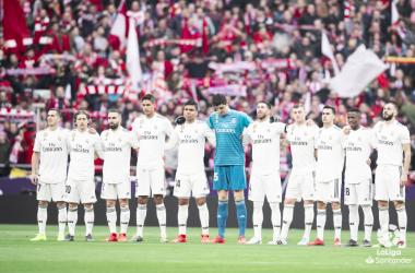 El Real Madrid guarda un minuto de silencio en el Wanda Metropolitano. Foto: Liga Santander.