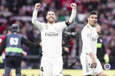 Sergio Ramos celebra la victoria en el Wanda Metropolitano. Foto: Liga Santander.