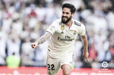 Isco celebrando su gol en el Bernabéu. Foto: Liga Santander.