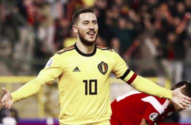 Eden Hazard en un partido con la selección belga. Foto: Twitter (@BelRedDevils).