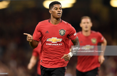 CARDIFF, WALES - AUGUST 03: Marcus Rashford of Manchester United celebrates scoring his sides first goal during the 2019 International Champions Cup match between Manchester United and AC Milan at Principality Stadium on August 03, 2019 in Cardiff, Wales. (Photo by Alex Davidson/International Champions Cup via Getty Images)