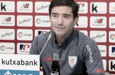 Marcelino García en la rueda de prensa previa al Elche-Athletic