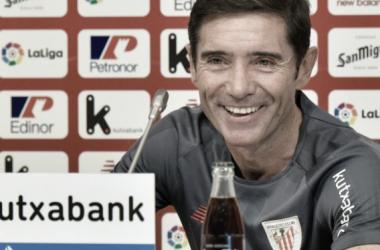 Marcelino en la rueda de prensa previa al Athletic-Barcelona
