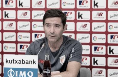 Marcelino en la rueda de prensa previa al Celta-Athletic