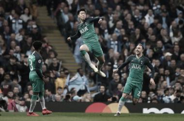 O coreano Heung-Min Son anotou dois gols no jogo e liderou os Spurs rumo à semifinal. (Foto:Reprodução/Uefa)