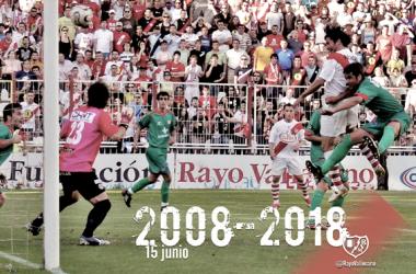 Pachón anotando el gol que daba el último ascenso a Segunda División | Fotografía: Rayo Vallecano S.A.D.
