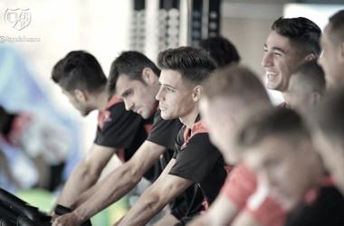 Jugadores del Rayo Vallecano durante una sesión de entrenamiento | Fotografía: Rayo Vallecano S.A.D.