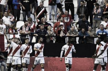 Pozo celebra su primer gol como jugador del Rayo Vallecano. Foto: La Liga