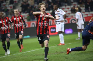 Vincent Koziello fête son 3e but de la saison (crédit photo : OGCNice.com)