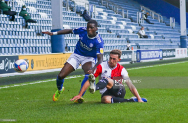 QPRs Conor Masterson challenges during the Sky Bet Championship match between Queens Park Rangers and Cardiff City at Loftus Road Stadium, London on Saturday 31st October 2020. (Photo by Ian Randall/MI News/NurPhoto via Getty Images)