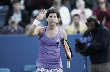 Carla Suarez Navarro of Spain celebrates her victory during her women's singles quarter final match against Angelique Kerber of Germany on day five of the WTA Aegon Classic at Edgbaston Priory Club on June 17, 2016 in Birmingham, England. (Photo by S