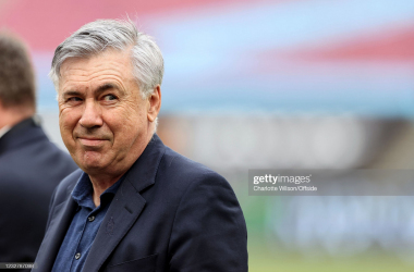Carlo Ancelotti all smiles after seeing his Everton side pick up an important victory at West Ham United (Photo by Charlotte Wilson/Offside/Offside via Getty Images