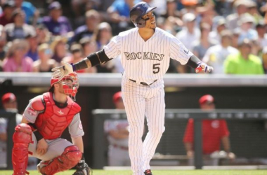 Carlos Gonzalez watches his third inning home run soar out of the park on Sunday. USA Today Sports/Chris Humphreys