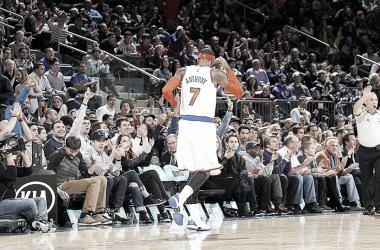 Camelo Anthony durante un partido con los Knicks/ Imagen vía: MSG Photo