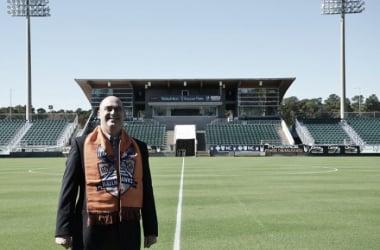 Carolina Railhawks owner Steve Malik stands in front of WakeMed Soccer Park after purchasing the team | carolinarailhawks.com