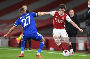 Timothy Castagne and Kieran Tierney during Leicester City's 1-0 win at the Emirates Stadium | Photo: Getty/ Stuart MacFarlane