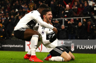 Luciano Vietto celebrates Fulham's fourth goal. Photo - Getty Images/Clive Rose