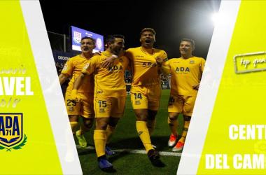 Los futbolistas del Alcorcón celebran un gol. Fotomontaje: VAVEL
