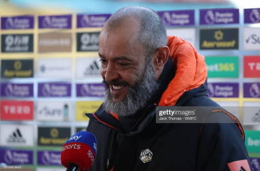 WOLVERHAMPTON, ENGLAND - APRIL 05: Nuno Espirito Santo, Manager of Wolverhampton Wanderers is interviewed by Sky Sports prior to the Premier League match between Wolverhampton Wanderers and West Ham United at Molineux on April 05, 2021 in Wolverhampton, England. Sporting stadiums around the UK remain under strict restrictions due to the Coronavirus Pandemic as Government social distancing laws prohibit fans inside venues resulting in games being played behind closed doors. (Photo by Jack Thomas - WWFC/Wolves via Getty Images)