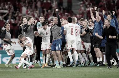 Celebración de Dinamarca // Fuente: Selección de Dinamarca