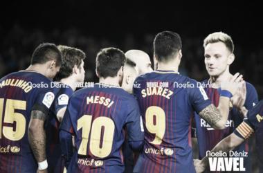El FC Barcelona celebrando un tanto en el Camp Nou.   Foto: Noelia Déniz, VAVEL