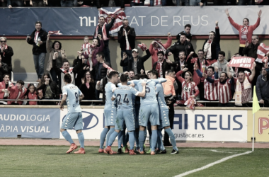 Los jugadores del Girona celebran el gol de Sandaza - Foto: Girona FC