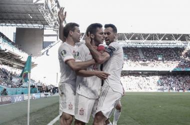 Celebración del gol de Sarabia // Fuente: SEFUTBOL
