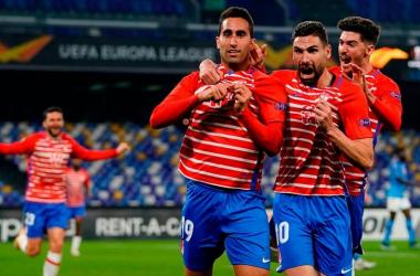 Montoro celebra su gol al Nápoles | Foto: Pepe Villoslada / Granada CF