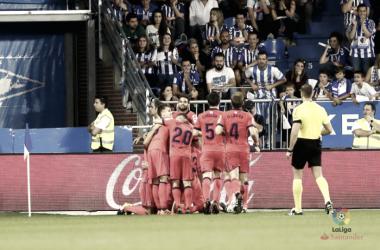 Los jugadores realistas celebran uno de los goles en Mendizorrotza el pasado sábado | Foto: La Liga